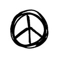 handdrawn pacifist sign peace symbol black brush vector image vector image
