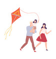 happy family playing kite smiling mother father vector image vector image