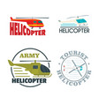 helicopter drone logo icons set flat style vector image