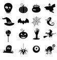 icon set helloween- witch hat grim reaper vector image vector image