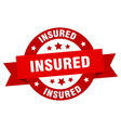 insured ribbon insured round red sign insured vector image vector image