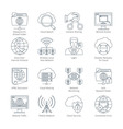 internet and network thin line icons vector image