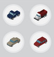 isometric automobile set of auto suv freight and vector image vector image