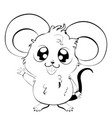 kawaii mouse in black and white vector image vector image