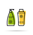 line icon - sunscreen two tube vector image