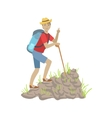 Man Climbing A Rocky Slope With Backpack vector image