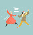 new year greeting card with dancing girl and boy vector image vector image