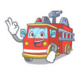 okay fire truck character cartoon vector image vector image