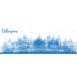 outline udaipur india skyline with blue buildings vector image vector image
