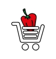 pepper in shopping cart isolated icon design vector image