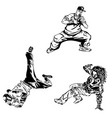 raper and street dancers on white background vector image vector image