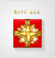 red gift box with golden bow and ribbon top view vector image vector image