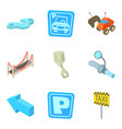 road sign icons set cartoon style vector image vector image