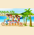 scene with family riding bike along ocean vector image
