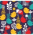Seamless pattern with colorful cartoon birds vector image