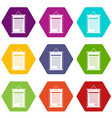 sertificate icon set color hexahedron vector image vector image