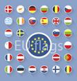 set european union flags flat design vector image