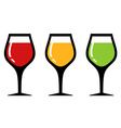 set glass with alcohol beverage vector image vector image