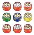 Set of Japanese Daruma Dolls vector image vector image