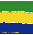 Set of lacerated bright papers in Brazil flag colo