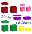 set of realistic boxes with lid for gifts vector image