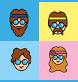 set people hippie with hairstyle and glasses vector image vector image