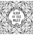 sign frame with inscription queen of the night on vector image