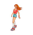 sketch cute girl skateboarding vector image vector image