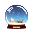 snow globe city rome in snow globe italy winter vector image