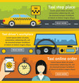 taxi service banner horizontal set flat style vector image vector image