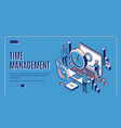 time management landing page planning work time vector image
