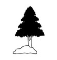 tree with rocks on black and white vector image vector image