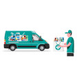 van for delivery pharmaceutical drugs vector image vector image