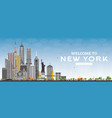welcome to new york usa skyline with gray vector image vector image