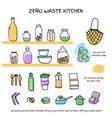 zero waste kitchen doodle icons set vector image
