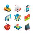 isometric icon set of online shopping symbols of vector image