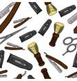 hand drawn retro barbershop seamless pattern vector image