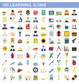 100 learning icons set flat style vector image