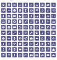 100 media icons set grunge sapphire vector image vector image