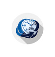 24 hours-a-day interface icon 3d clock Time is vector image