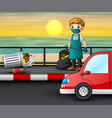 a man picking up trash plastic and cleaning with g vector image vector image