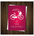 be my valentines card with wooden background vector image vector image