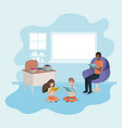 black man reading book in the sofa with kids vector image vector image