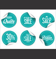 blue paper sale stickers collection vector image vector image