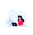 business lady or company worker at desk with vector image