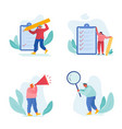 businesspeople filling checklist set isolated vector image