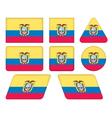 buttons with flag of Ecuador vector image