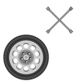 Car wheel and wrench vector image vector image