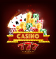 casino poker game cards dice chips and coins vector image vector image
