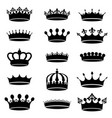 collection of vintage antique crown simple black vector image vector image